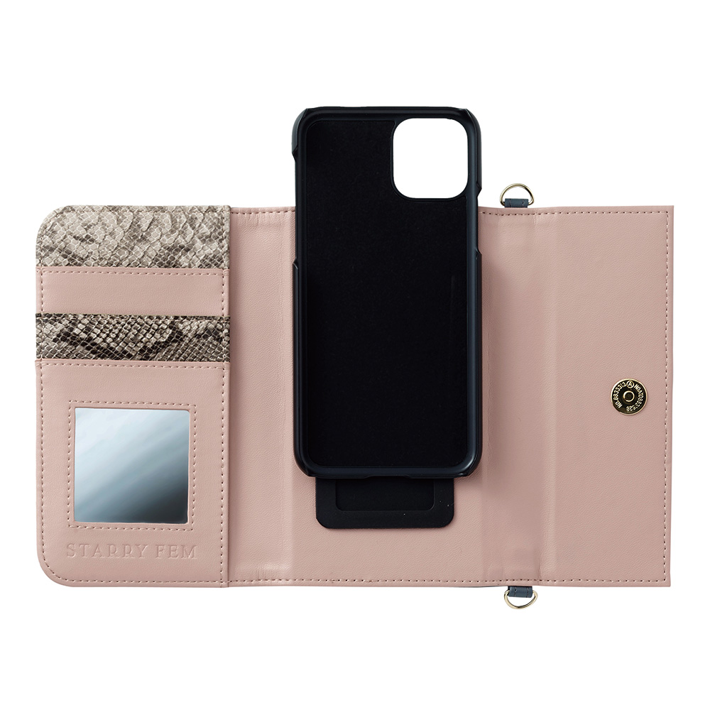 iPhone11Pro/XS/X対応 LOOKWAY03 ルックウェイ03 ダークグレー&フューシャ ビジューデコレーション【STARRY FEM スターリーフェム】