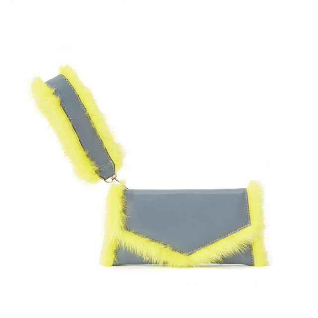 iPhoneXS/X対応 FUR TRIMMING Gray&Yellow ファートリミング チャコールグレー&イエロー ミンクファー【STARRY FEM スターリーフェム】