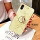 iPhoneSE(第2世代)/8/7対応 iPhone11/11Pro/11ProMax対応 iPhoneXS/X/XR/XSMax対応 iPhone8Plus/7Plus対応 ハードケース 背面ケース バンカーリング付き 大理石風 ゴールドパウダー OG16