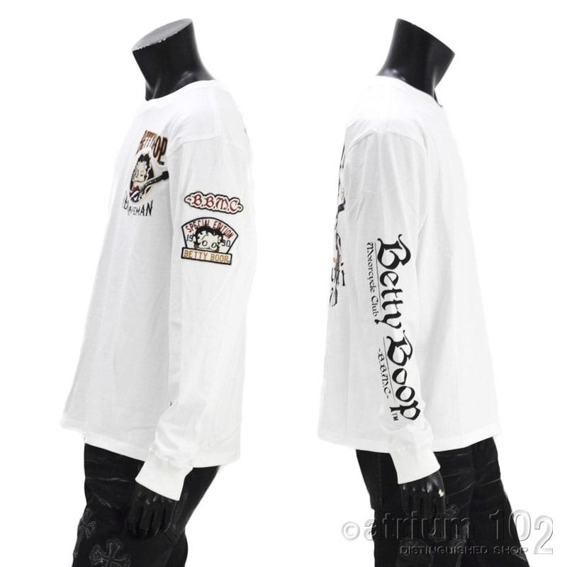 NE/BBB-2131/THE BRAVEMAN(ザ ブレイブマン)×BETTY BOOP(ベティー・ブープ) コラボ 天竺 長袖Tシャツ 刺繍