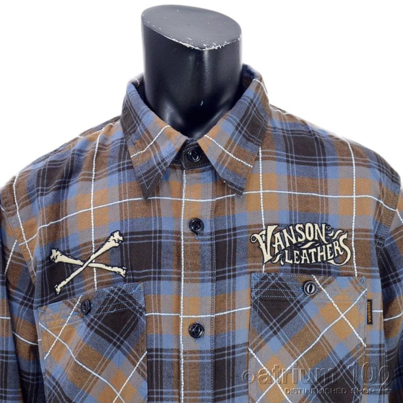 NE/NVSL-2103/VANSON(バンソン)ロゴ刺繍 ドビーチェック 長袖シャツ