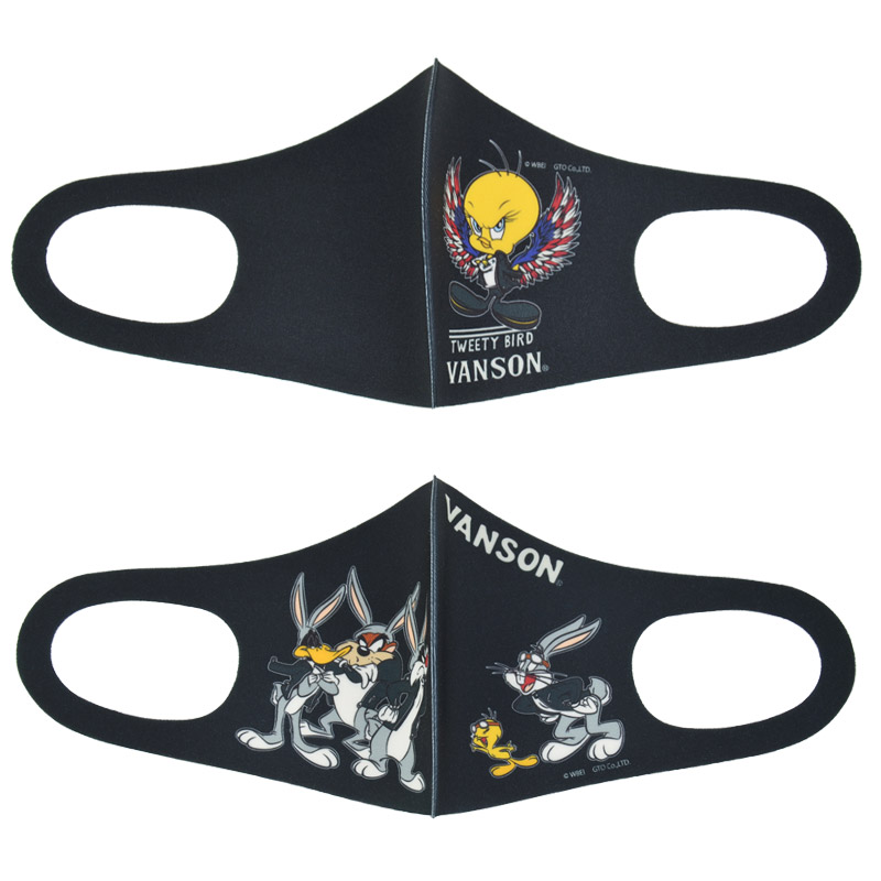 NE/LTV-2105<br>VANSON(バンソン)<br>VANSON×TWEETY BIRD ポリウレタンフェイスマスク 2点セット 布マスク バンソンマスク