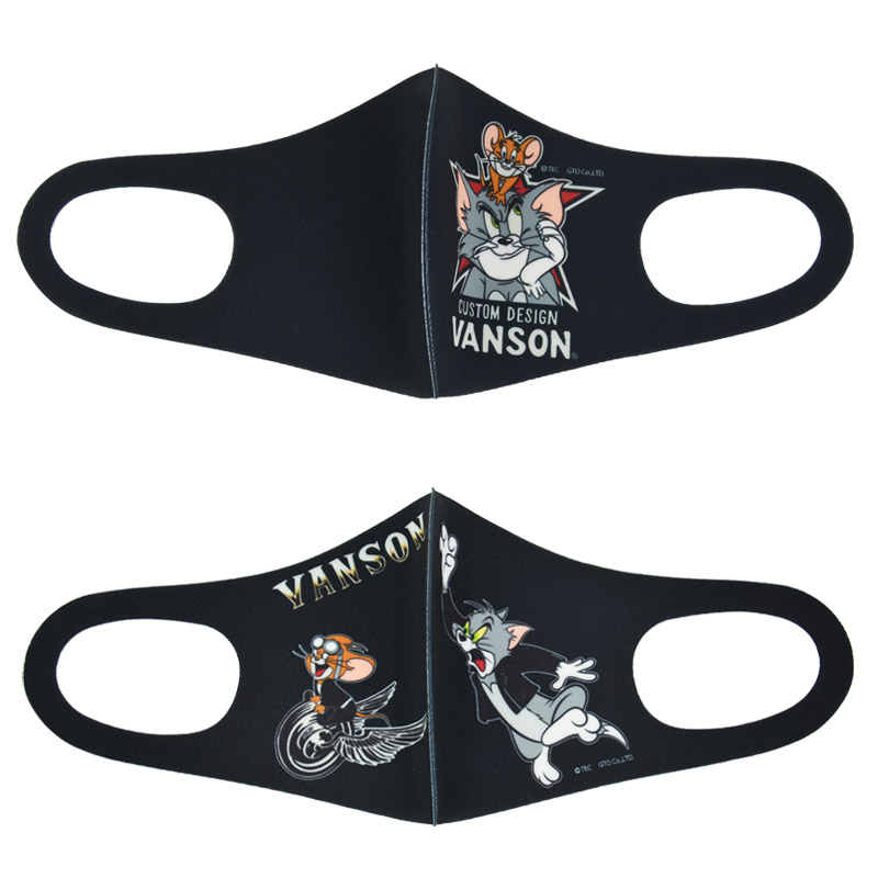 NE/TJV-2107<br>VANSON(バンソン)<br>VANSON×TOM&JERRY ポリウレタンフェイスマスク 2点セット 布マスク バンソンマスク