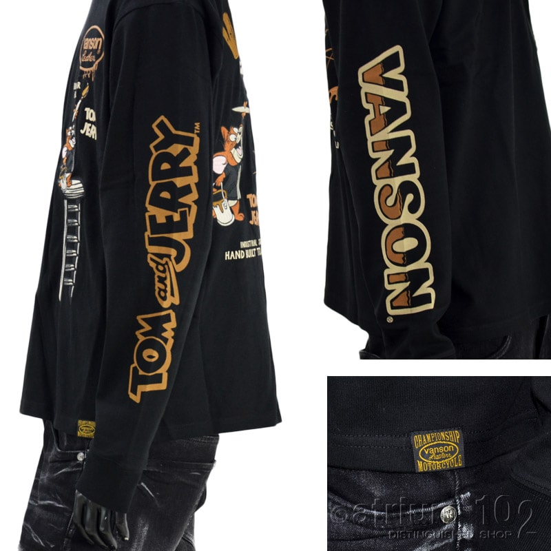 NE/TJV-2129/VANSON(バンソン)×ワーナー・ブラザースコラボ トムとジェリー刺繍 長袖Tシャツ