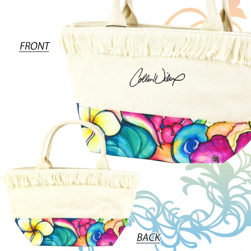 LL/1117A31209<br>Colleen Wilcox フリンジ付きキャンバスミニトート<br>花柄アートデザインバッグ