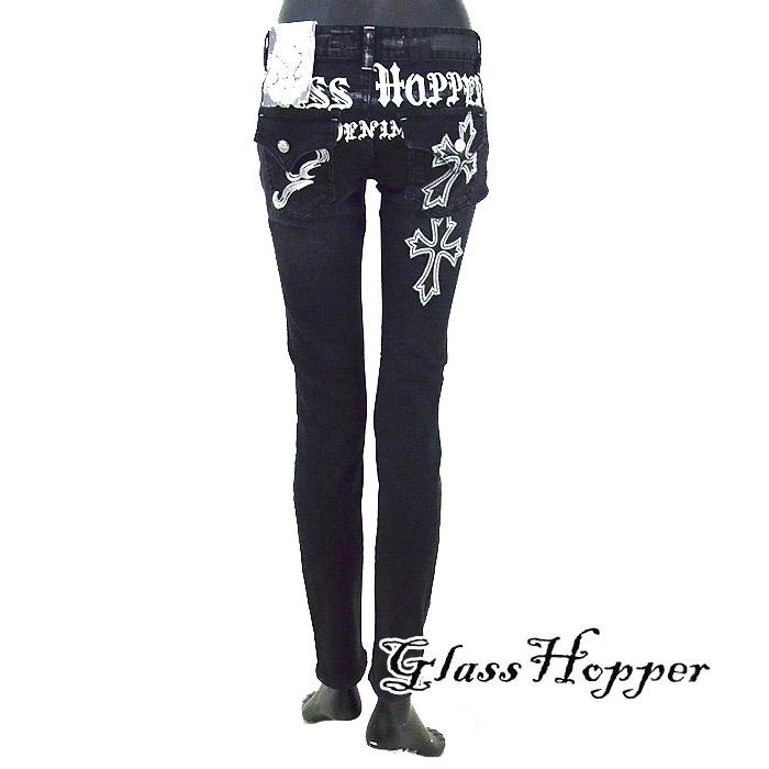 GH/GFDP656<br>GRASS HOPPRER(グラスホッパー)<br>レディース クロス刺繍  タイトスキニー