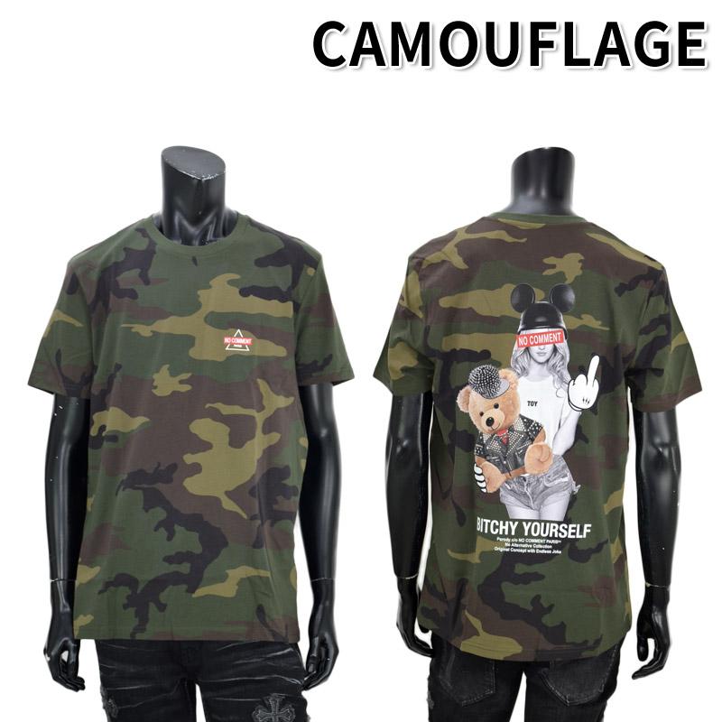 LN/NC-TC.LTN264-1<br>NO COMMENT PARIS(ノー・コメント パリ)<br>Biker bear Pet T-Shirt UNISEX カモ柄 クルーネック 半袖 オリジナルオーガニックコットン プリントTシャツ ノーコメント【正規代理店仕入れ】