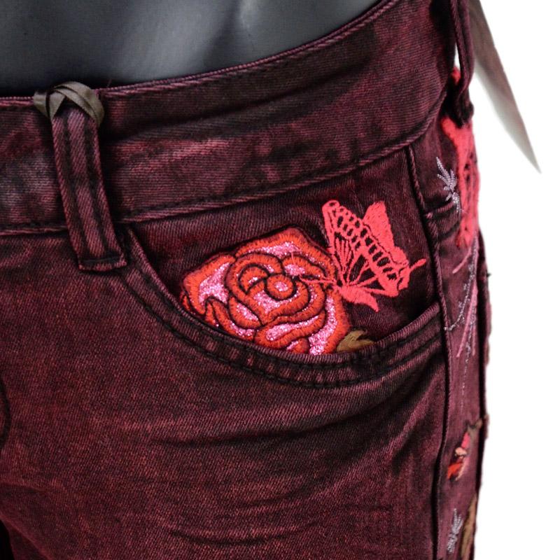 GH/GFDP658<br>GRASS HOPPRER(グラスホッパー)<br>レディース 薔薇ハート刺繍カラースキニー ワインレッド