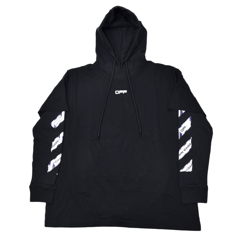 OMAB33S20185003<br>OFF-WHITE(オフホワイト)<br>AIRPORT DOUBLE DOUBLE TEE HOODIE Tシャツ/インPK EL/S20185003【並行輸入】