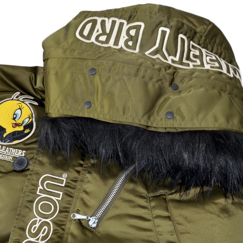 NE/LTV-2027<br>VANSON(バンソン)<br>×LOONEY TUNE TWEETY コラボ 刺繍 フライトジャケット アウター