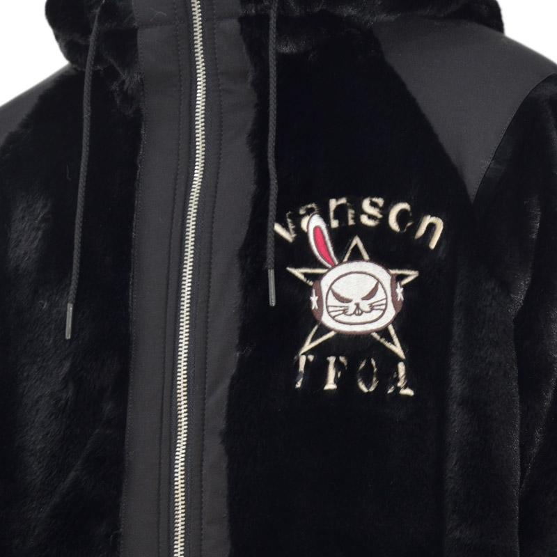 NE/CRV-2033<br>VANSON(バンソン)<br>クローズワーストコラボ 武装戦線 デスラビット刺繍 RVボアパーカー リバーシブル