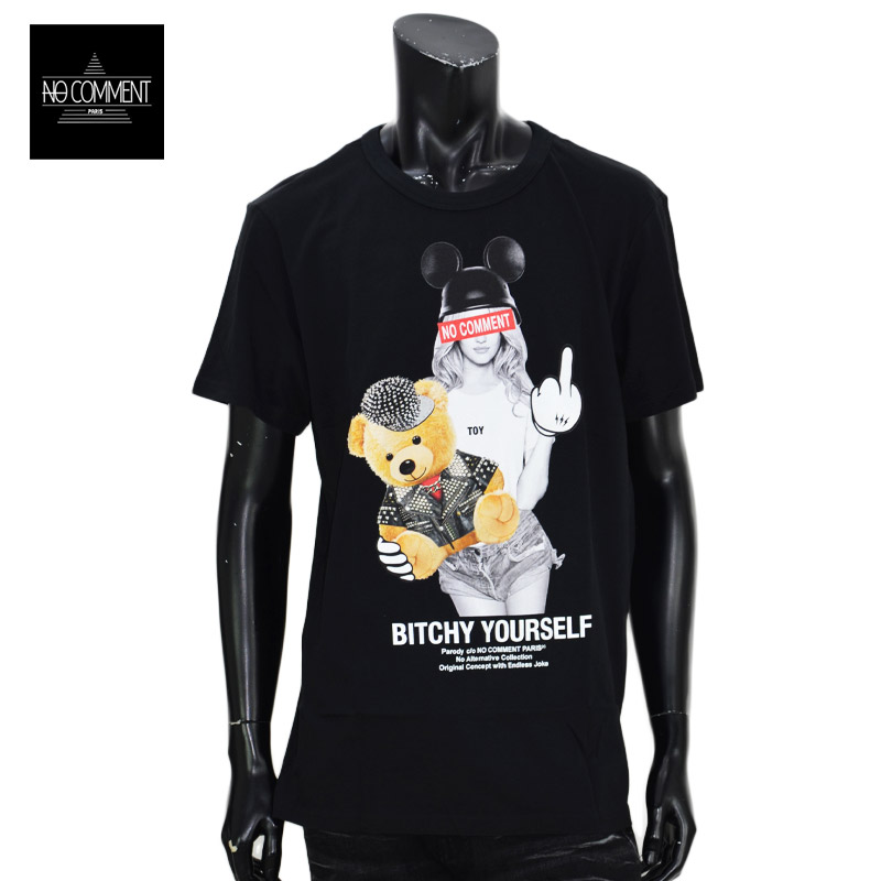 LN/NC-TM.LTN264-1<br>NO COMMENT PARIS(ノー・コメント パリ)<br>Bike bear Pet T-Shirt MEN'S 黒 クルーネック 半袖 オリジナルオーガニックコットン プリントTシャツ ノーコメント【正規代理店仕入れ】