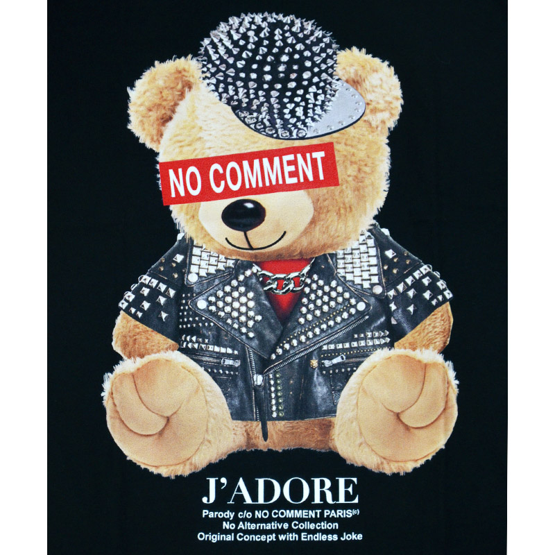 LN/NC-TM.LTN263-1<br>NO COMMENT PARIS(ノー・コメント パリ)<br>Stud Bike bear T-Shirt MEN'S 黒 クルーネック 半袖 オリジナルオーガニックコットン プリントTシャツ ノーコメント【正規代理店仕入れ】