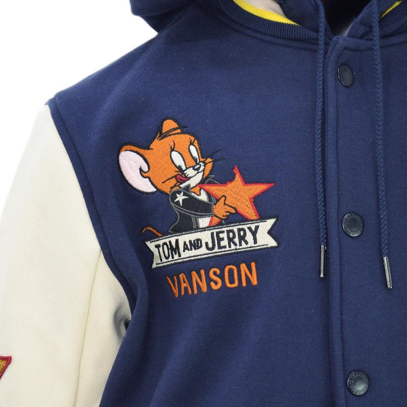 NE/TJV-2031<br>VANSON(バンソン)<br>×ワーナー・ブラザースコラボ トムとジェリー刺繍 スタジャン