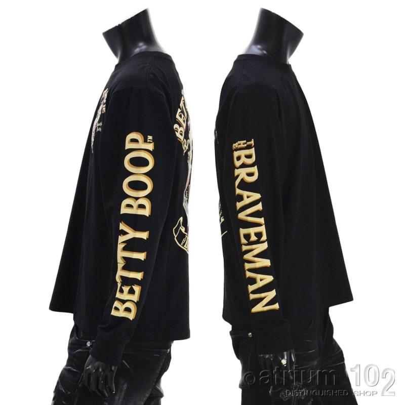 NE/BBB-2128/THE BRAVEMAN(ザ ブレイブマン)×BETTY BOOP(ベティー・ブープ) コラボ 刺繍 長袖Tシャツ