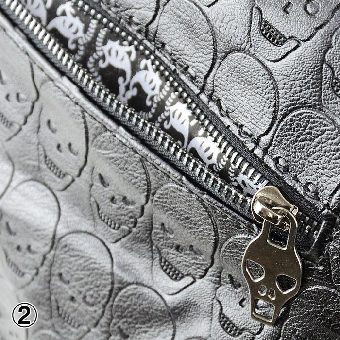 RY/TH0135<br>SKULL DECORATION BAG<br>型押し 2WAY スカルトートバッグ スカルスカーフ 編み上げ合皮装飾チェーン付属