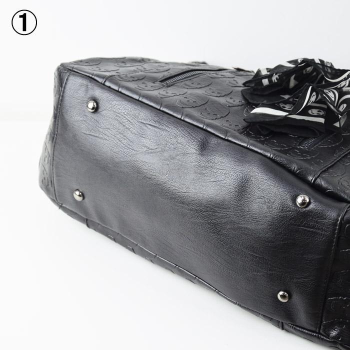 RY/TH0137<br>SKULL DECORATION BAG<br>スカル型押しバッグ 2WAY スカーフ付属 トートバッグ