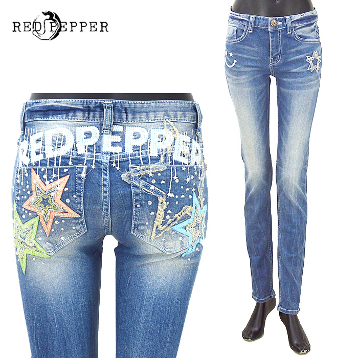 RJ/RJ1071<br>RED PEPPER(レッドペッパー)<br>レディース ズボン ボトムス スターモチーフ刺繍 スキニー DENIM ブルー