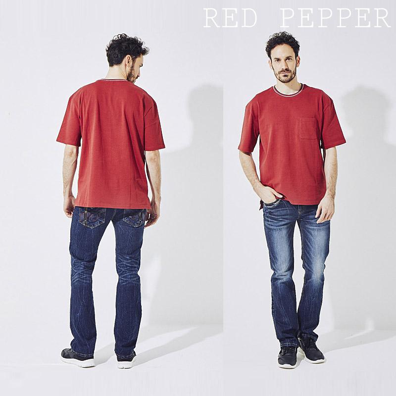 RJ/RJ2074<br>RED PEPPER(レッドペッパー)<br>MENS ロゴフラップポケットPUモチーフセミストレート