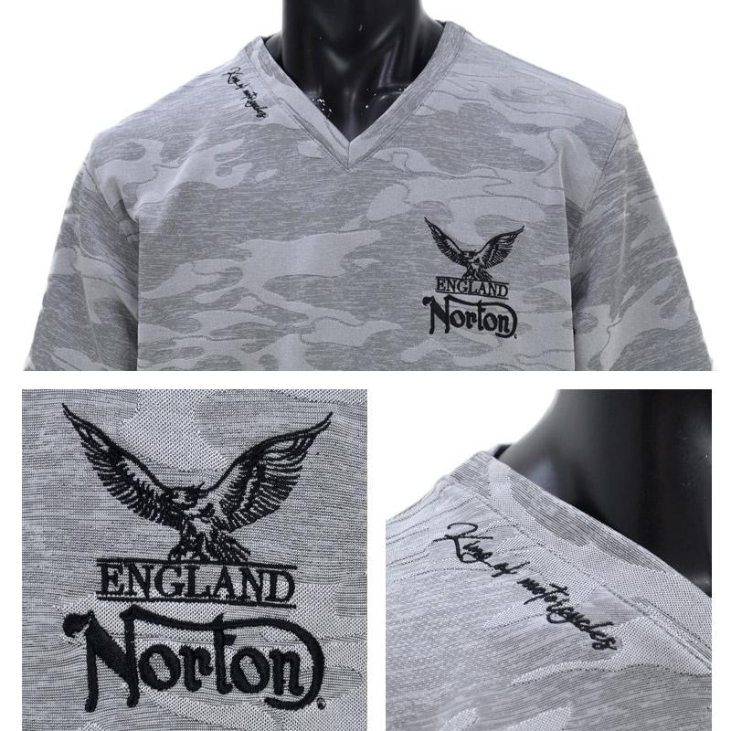 PE/212N1010<br>Norton Motorcycles(ノートンモーターサイクルズ)<br>接触冷感カモVジャガードネックTシャツ 半袖 バイカー 刺繍