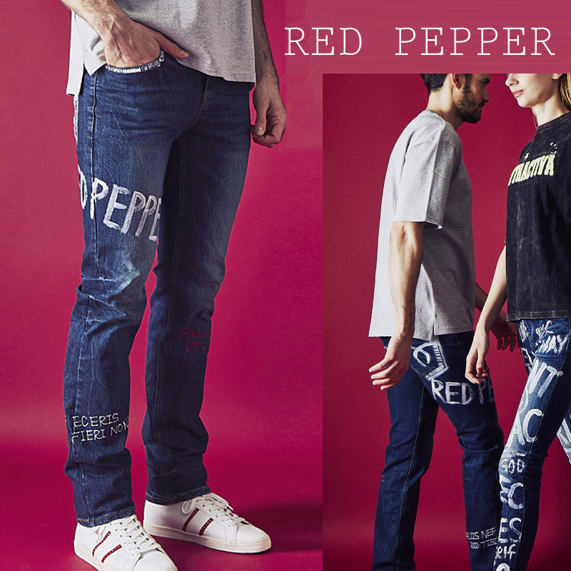 RJ/RJ2072<br>RED PEPPER(レッドペッパー)<br>MENS ピースマークペイント セミストレート