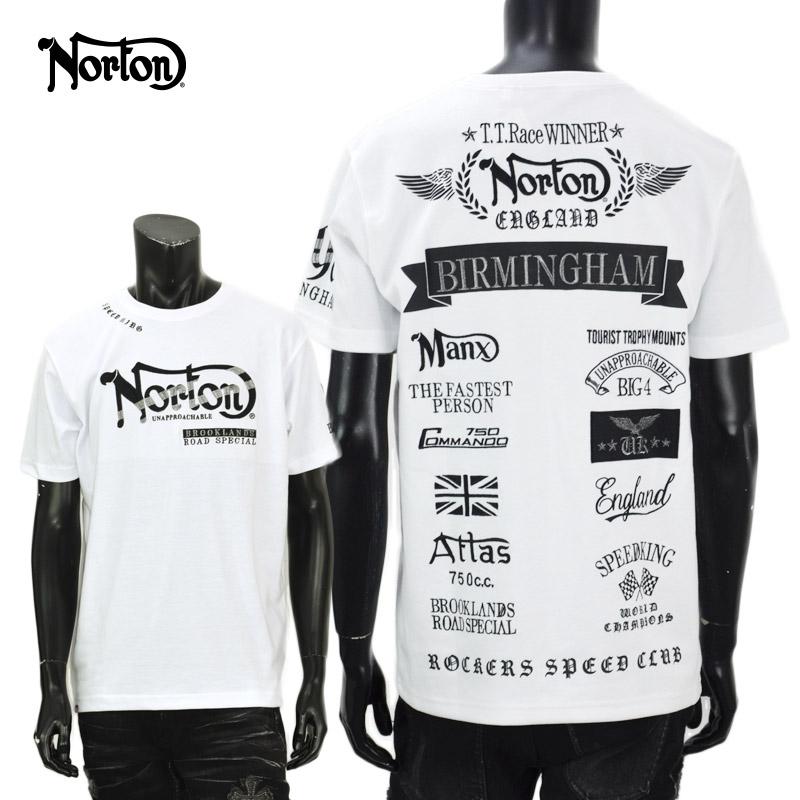 PE/212N1000<br>Norton Motorcycles(ノートンモーターサイクルズ)<br>バックロゴMAX Tシャツ バイカー 刺繍
