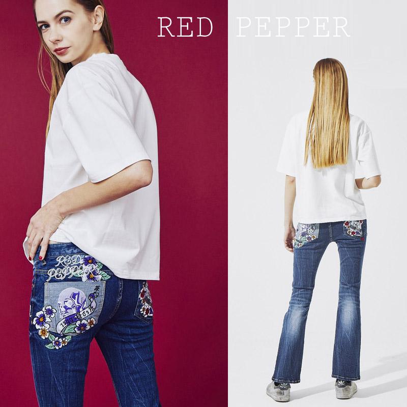 RJ/RJ1094<br>RED PEPPER(レッドペッパー)<br>LADIES トランプスカルフラワー タイトブーツカット 刺繍