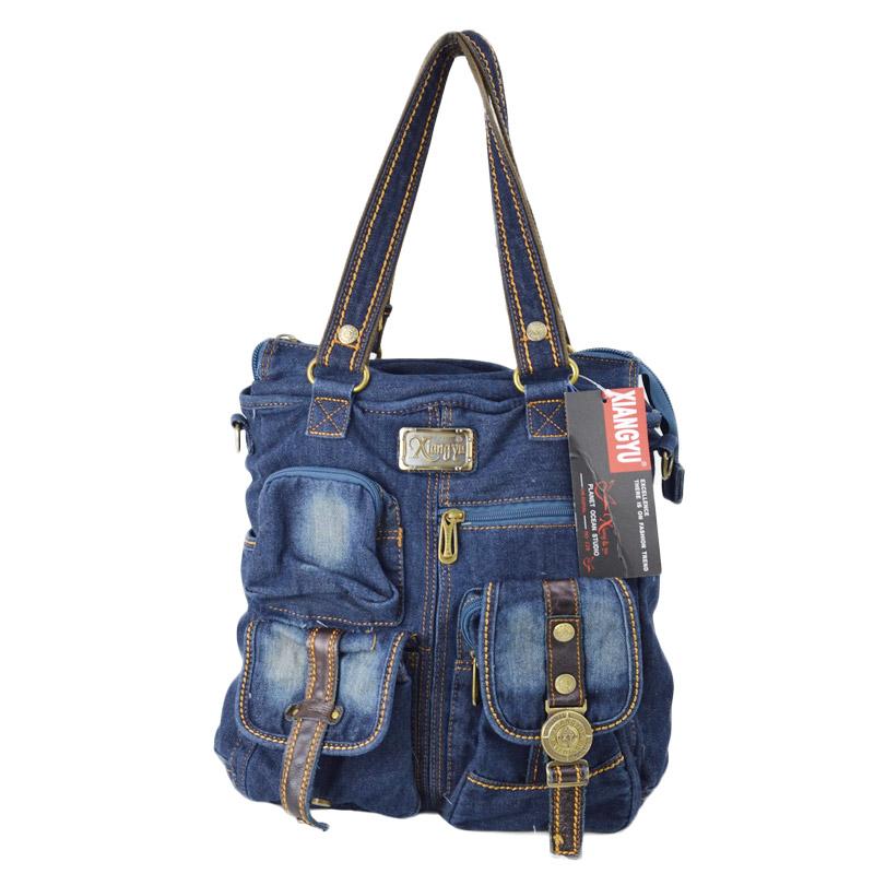 TO/6-102<br>DENIM BAG(デニムバッグ)<br>リニューアル新作 2WAYメタルプレートトートバッグ ポケット多数