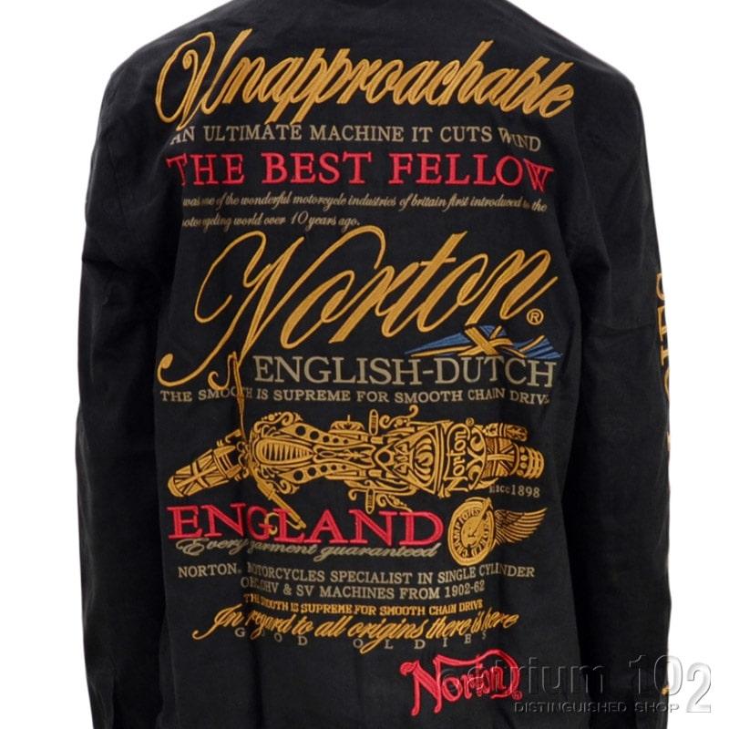 PE/213N1501/Norton Motorcycles(ノートンモーターサイクルズ)撥水ポリスウェードワイヤーカラー長袖シャツ バイカー 刺繍