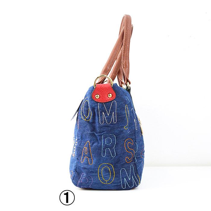 TO/6-8249<br>DENIM BAG(デニムバッグ)<br>2WAY英字ステッチストーンミニバッグ ポケット多数