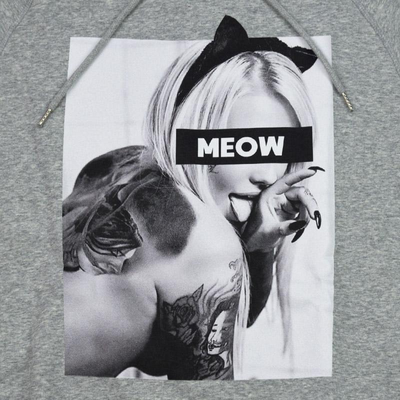 LN/NC-HDM.NCP71<br>NO COMMENT PARIS(ノー・コメント パリ)<br>HOOD MEN'S meow フォトプリント 長袖プルパーカー ノーコメント【正規代理店仕入れ】