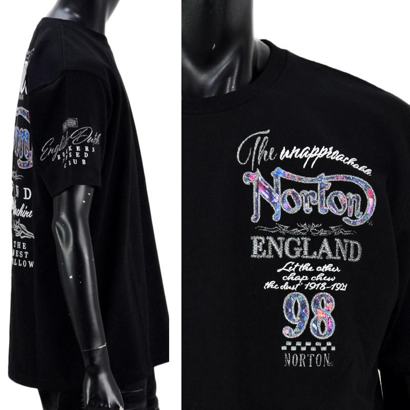 PE/212N1003<br>Norton Motorcycles(ノートンモーターサイクルズ)<br>吸水速乾ブルースチール半袖Tシャツ バイカー 刺繍