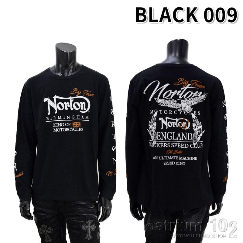 PE/213N1108/Norton Motorcycles(ノートンモーターサイクルズ)イーグル刺繍長袖Tシャツ バイカー 刺繍