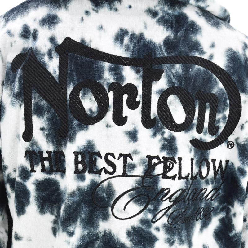 PE/211N1307<br>Norton Motorcycles(ノートンモーターサイクルズ)<br>ムラ染めパイル 長袖フルZIPパーカー バイカー 刺繍