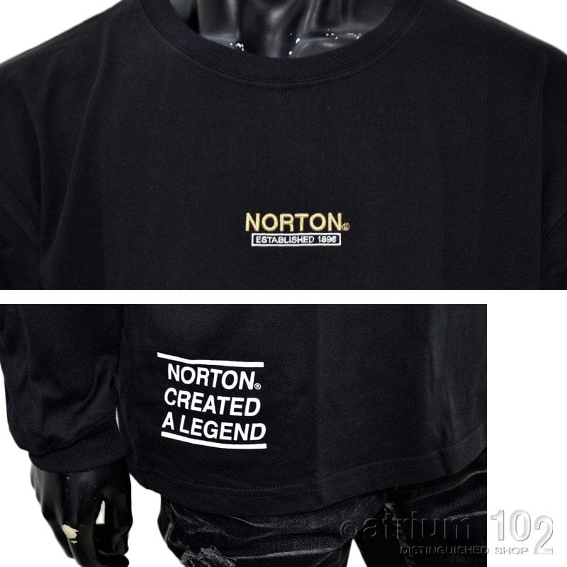 PE/213N1104/Norton Motorcycles(ノートンモーターサイクルズ)エンボス箔プリント長袖Tシャツ バイカー 刺繍