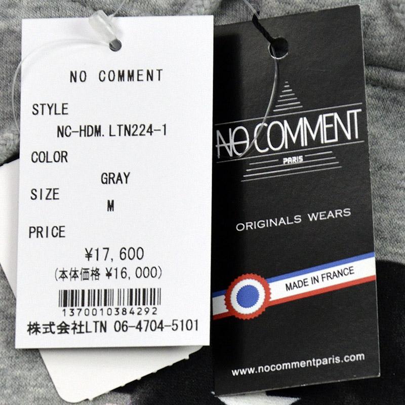 LN/NC-HDM.LTN224-1<br>NO COMMENT PARIS(ノー・コメント パリ)<br>HOOD MEN'S JP checker coat フォトプリント 長袖プルパーカー ノーコメント【正規代理店仕入れ】
