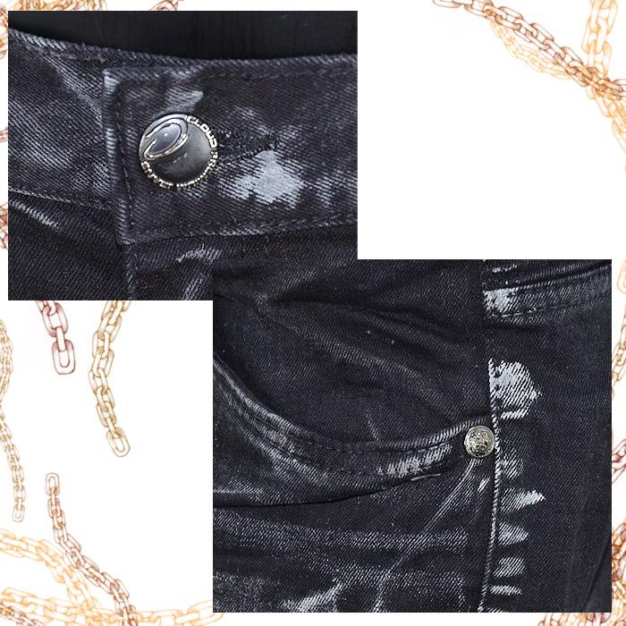 TZ/CDP676<br>CLOUD72(クラウド72)<br>メンズストレッチデニム スカルイーグル刺繍 クロス BLACK スリムストレート ストレッチ