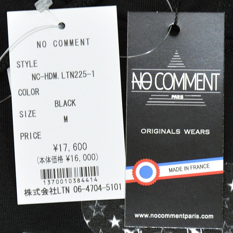 LN/NC-HDM.LTN225-1<br>NO COMMENT PARIS(ノー・コメント パリ)<br>HOOD MEN'S JP machinegun girl フォトプリント 長袖プルパーカー ノーコメント【正規代理店仕入れ】