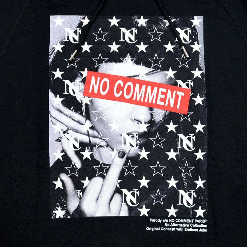 LN/NC-HDM.LTN244-1<br>NO COMMENT PARIS(ノー・コメント パリ)<br>HOOD MEN'S JP star pause フォトプリント 長袖プルパーカー ノーコメント【正規代理店仕入れ】