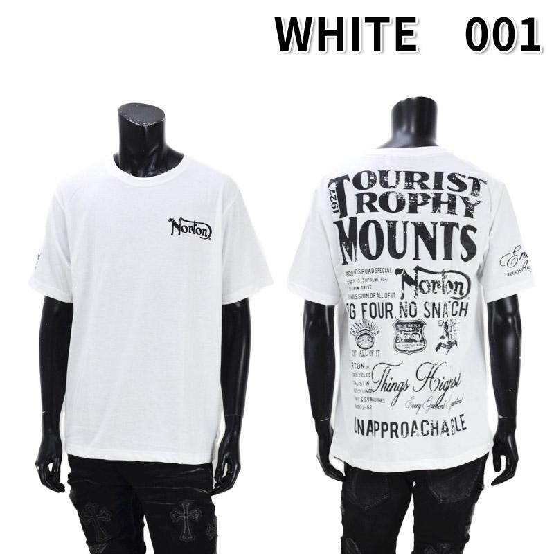 PE/212N1002<br>Norton Motorcycles(ノートンモーターサイクルズ)<br>吸水速乾 かすれプリント半袖Tシャツ バイカー 刺繍
