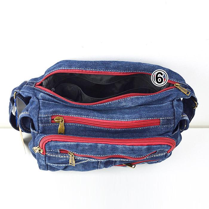 TO/6-143A<br>DENIM BAG(デニムバッグ)<br>ショルダーバッグ RED・GREEN ZIP ポケット多数