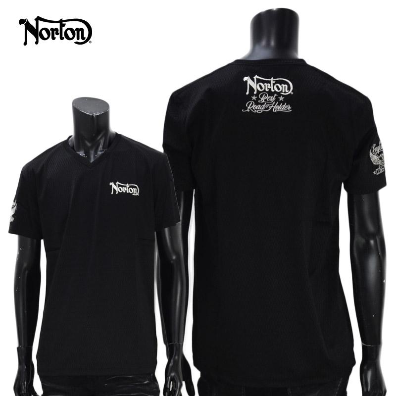 PE/212N1011<br>Norton Motorcycles(ノートンモーターサイクルズ)<br>Vネックジャガード半袖T バイカー 刺繍