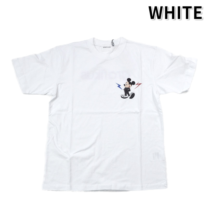 LN/G21FMG007<br>GRAFIKUS (グラフィクス)<br>Mickey Mouse ミッキーマウス 稲妻 半袖Tシャツ ワーナーブラザーズ、ディズニー 正規キャラクターライセンス取得商品 フォトプリント  【正規代理店仕入れ】