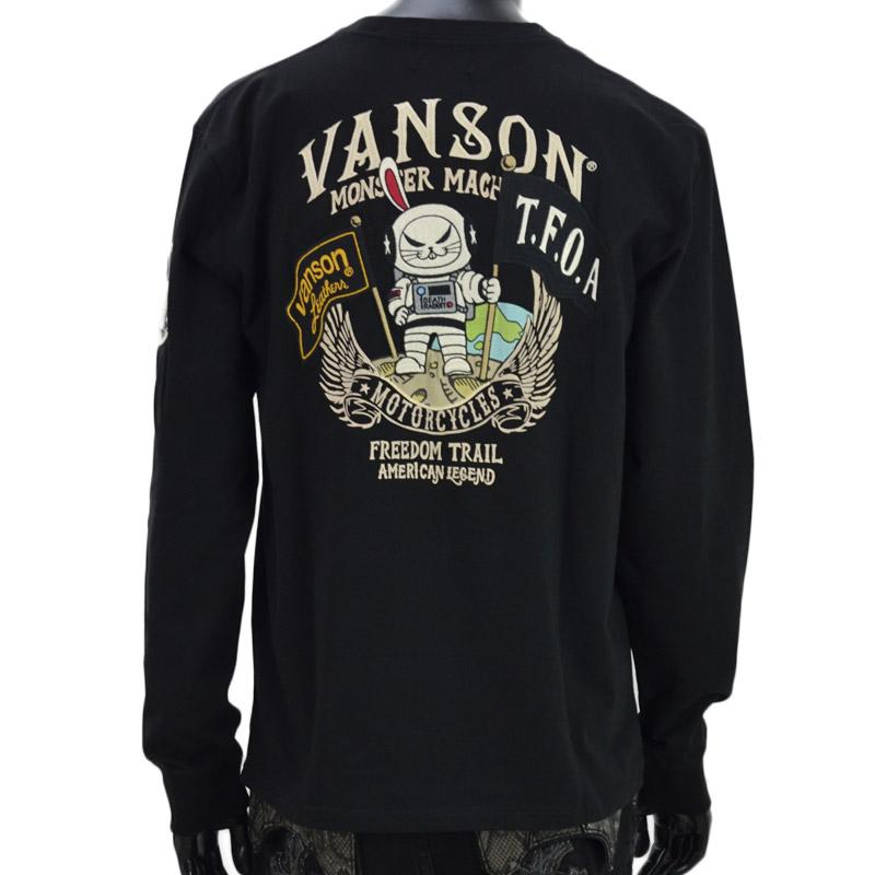 NE/CRV-2027<br>VANSON(バンソン)<br>クローズワーストコラボ 武装戦線 デスラビット刺繍 宇宙飛行士 長袖Tシャツ