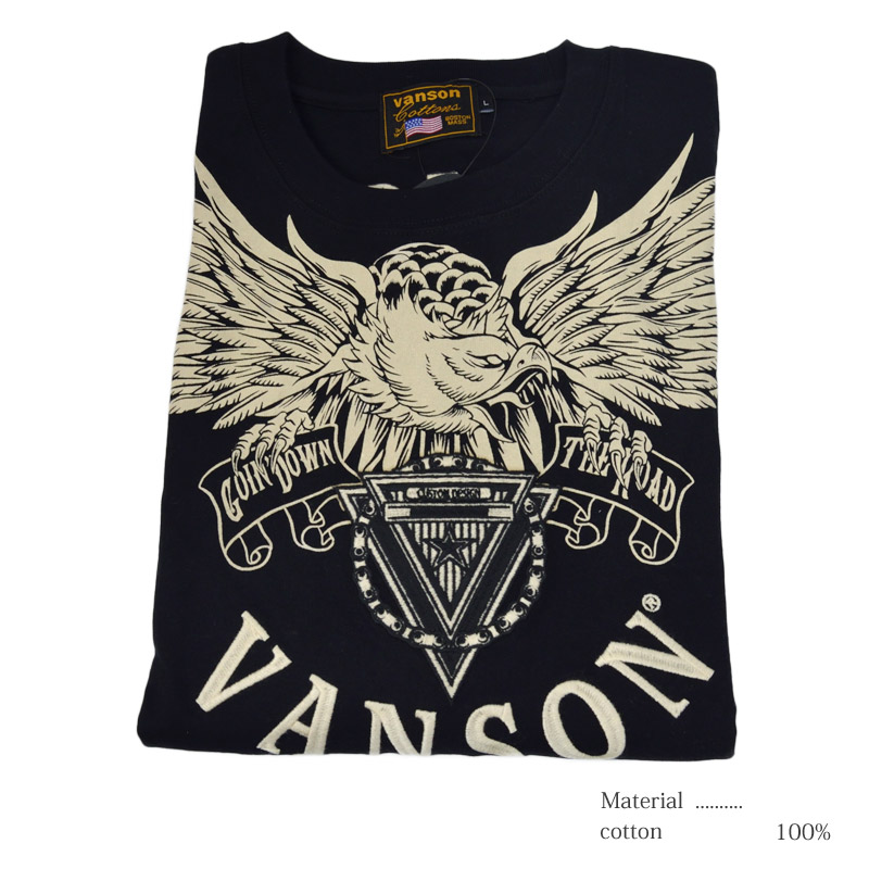 NE/NVLT-2022<br>VANSON(バンソン)<br>イーグル 天竺長袖Tシャツ