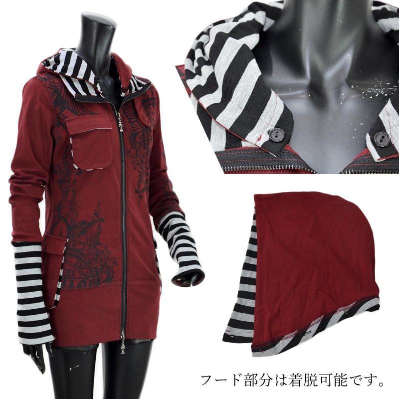RY/TF0622W<br>渋谷・原宿・ロックゴシック系LADIES<br>フード着脱刺繍ZIPパーカー