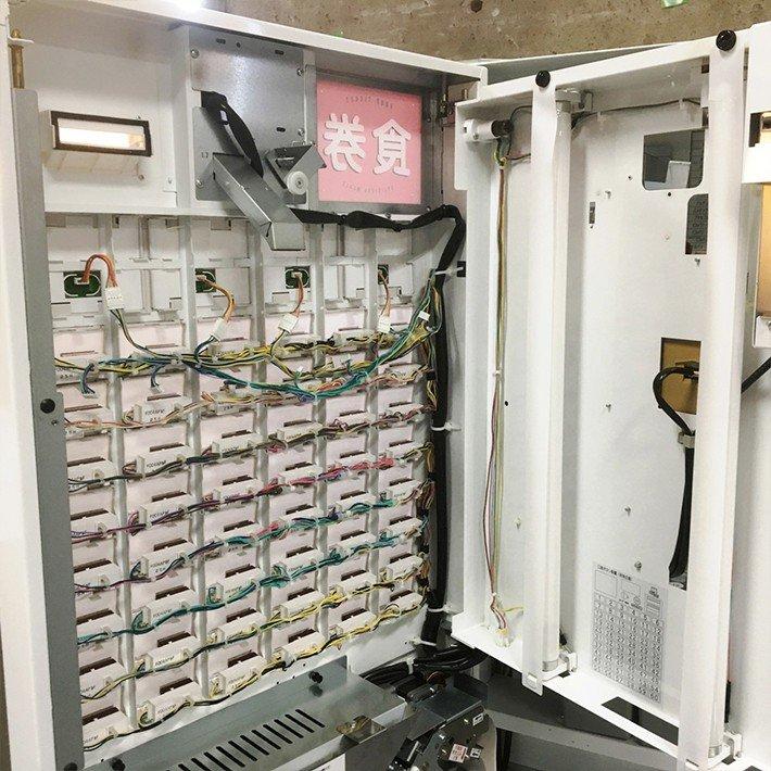 中古 券売機 押しボタン式 低額紙幣対応 2012年製 芝浦自販機 KB-160NN 幅600×奥300×高1600mm 店舗用品 専用設定ソフト付き