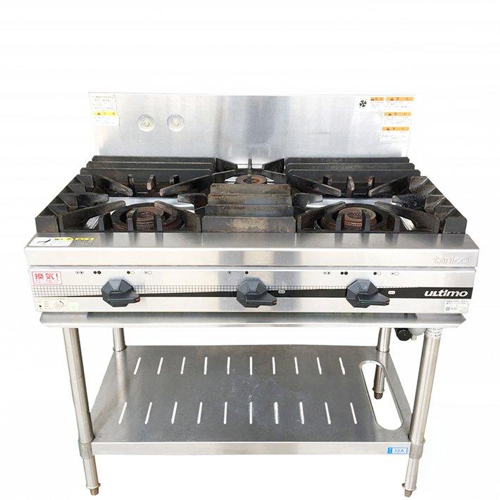 中古 厨房機器 2016年製 タニコー 業務用ガステーブル TSGT-0921 都市ガス用 3口 幅900×奥600×高800mm