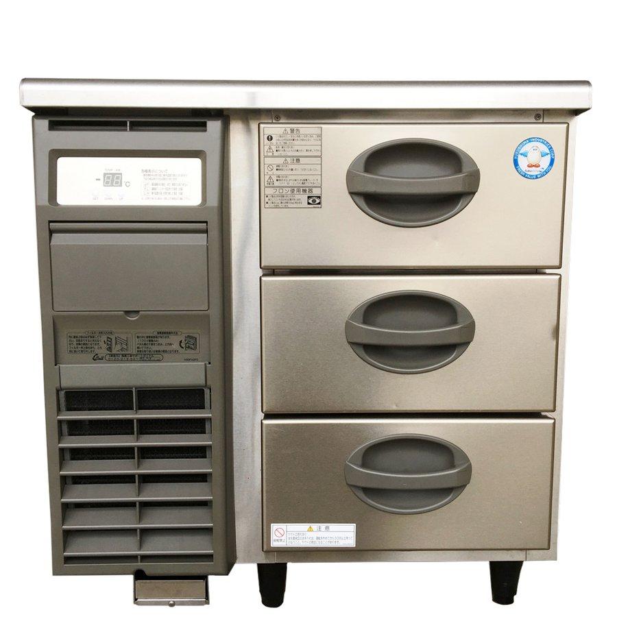 中古 厨房機器 フクシマ 2018年製 業務用ドロワー冷凍コールドテーブル YDC 083FM2 3段 幅755 奥600 高800mm 単相100V