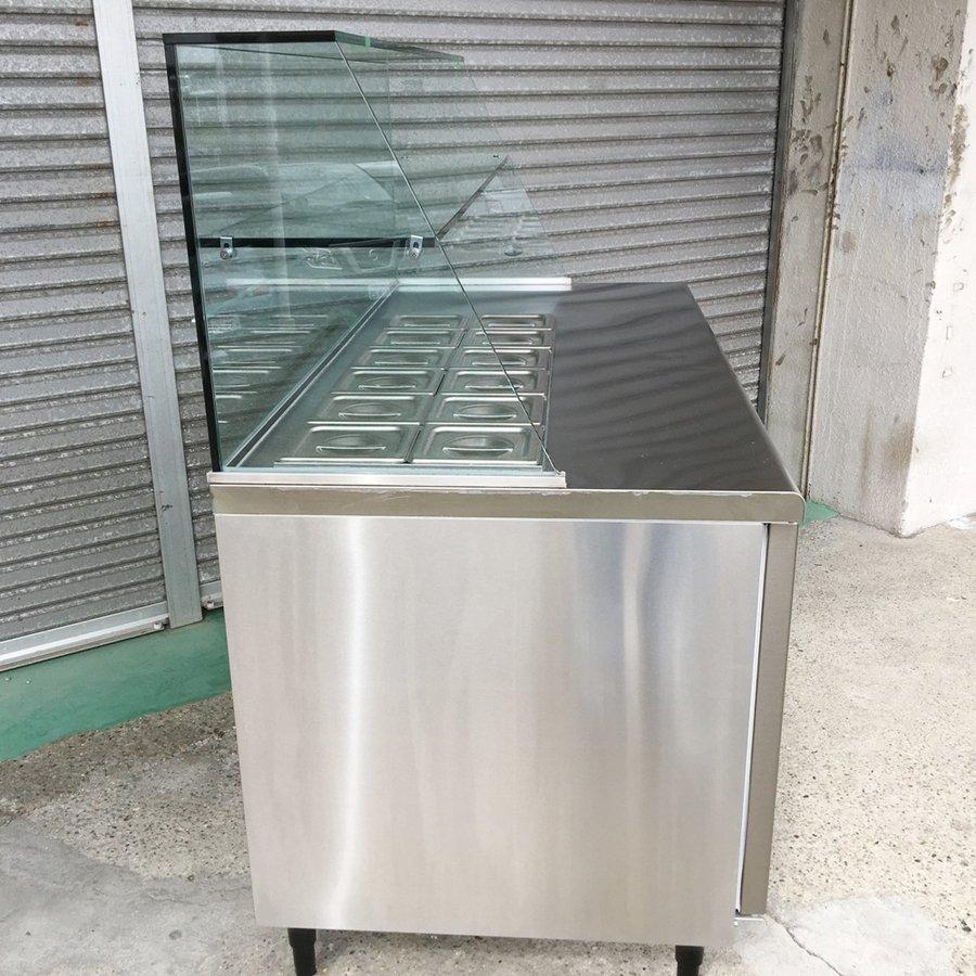中古 厨房機器 2016年製 フクシマ サンドイッチ冷蔵コールドテーブル YRM 150RM2 R(改) ガラスショーケース付き 幅1500 奥750 高1370mm 定格内容積 447L